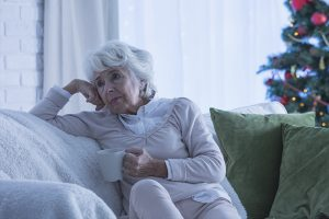 lonely senior woman during Christmas