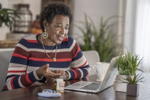 elderly woman researching medication-related fall risks